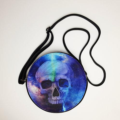Circle galaxy skull shoulder bag