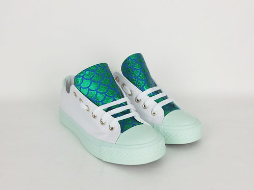 Green and mint mermaid scales custom shoes