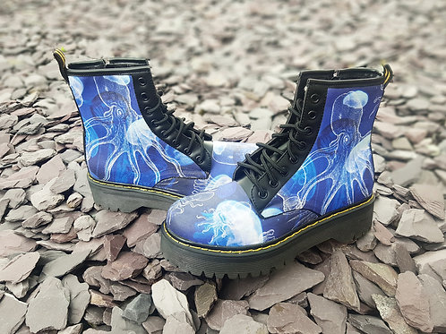 Octopus and jellyfish blue Custom Chunky Boots