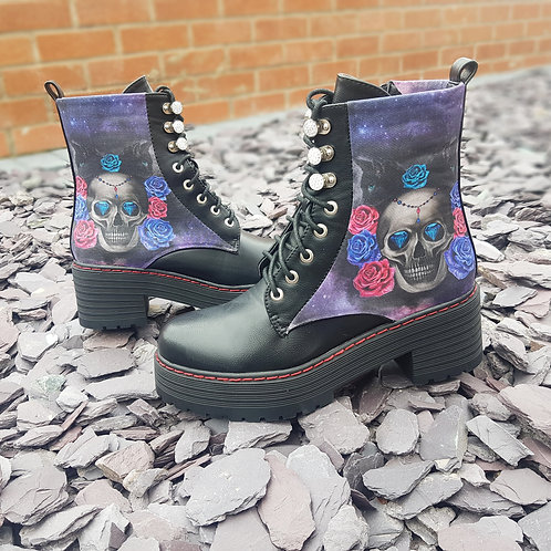Cat and skull ankle boots