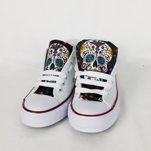 Day of the Dead Shoes, White and Black Custom Pumps
