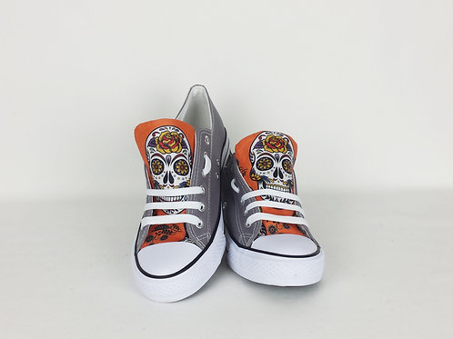 Orange Day of the Dead rainbow sneakers, customised women shoes