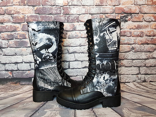 Gothic skull and crow boots, women mid calf boots