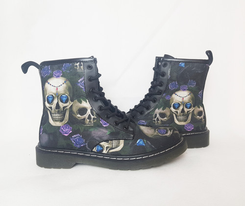 149ec019d8 Skulls and purple roses women ankle boots