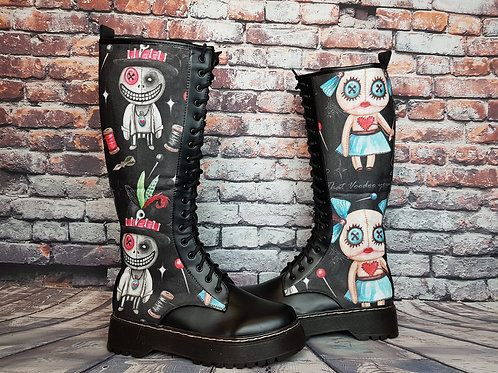 Voodoo doll print knee high boots, alternative footwear