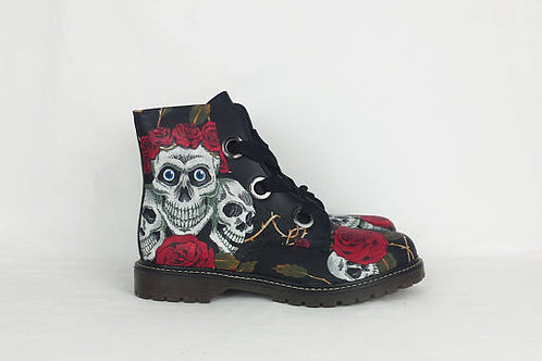 Gothic skulls and roses boots, custom made women shoes