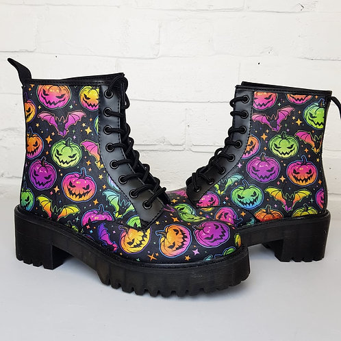 Neon Pumpkins Halloween chunky ankle boots