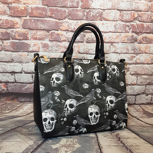 Raven and skulls shoulder bag