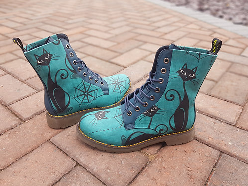 Teal cat print custom boots