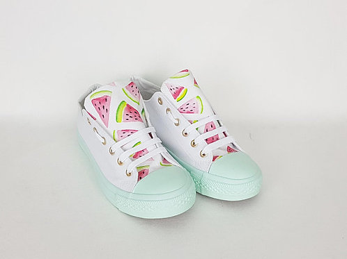 Watermelon mint summer sneakers, customised women shoes
