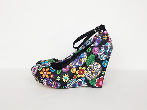 Sugar Skull 4.5inch Custom Wedge Shoes