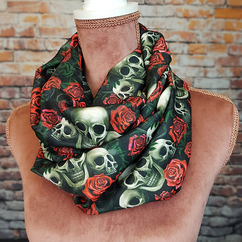 Skulls and red roses infinity scarf
