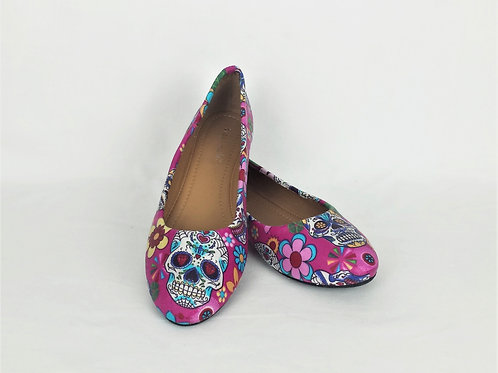 Pink day of the dead custom dolly pumps