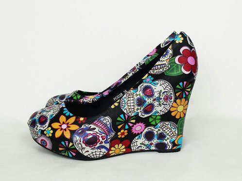 Sugar Skull Custom Wedge Shoes
