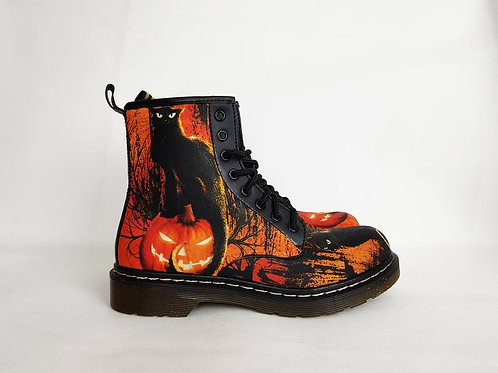 Halloween black cat shoes, women ankle boots