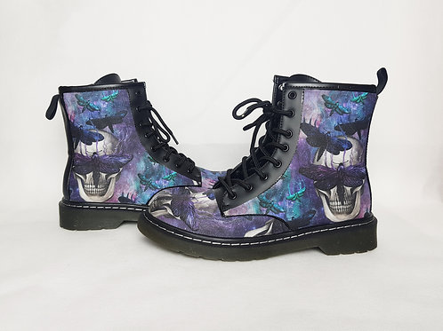 Galaxy skull and moth print women ankle boots