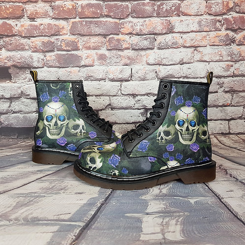 Skulls and purple roses women ankle boots
