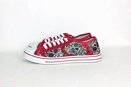 Red day of the dead custom shoes, skull sneakers