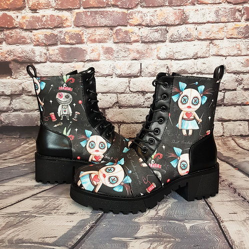Voodoo doll platform ankle boots
