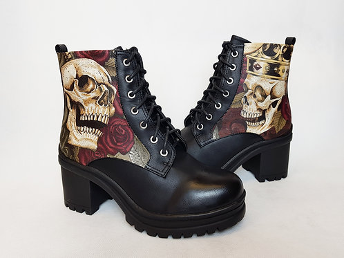 Skulls and roses platform ankle boots, steampunk women shoes