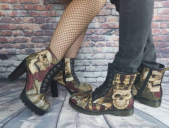 women boos, men boots, gothic, skull shoes, alterntive footwear, gift for him