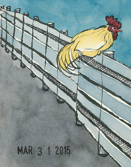 perched rooster poster