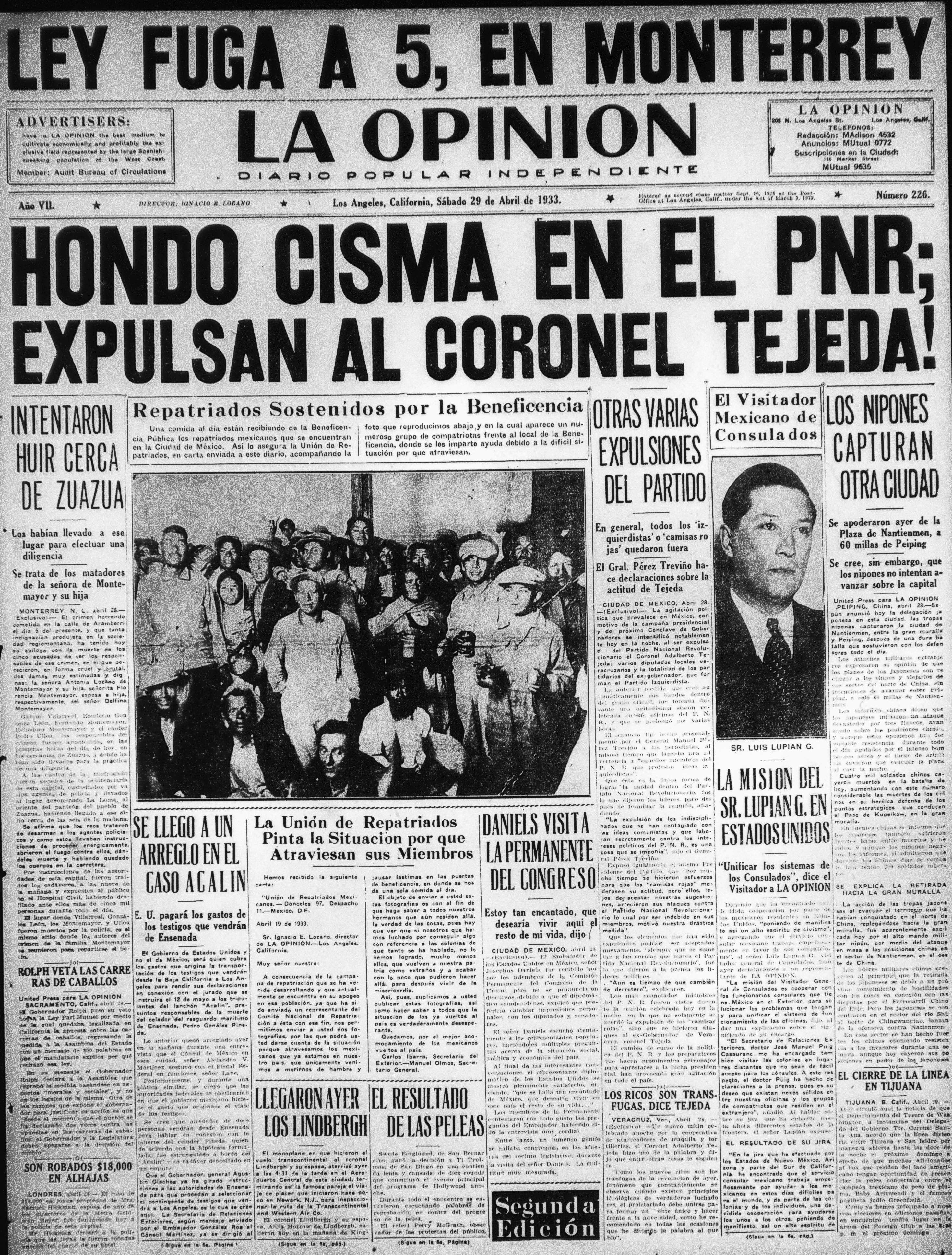 La Opinion Letter from Repatriots 1933