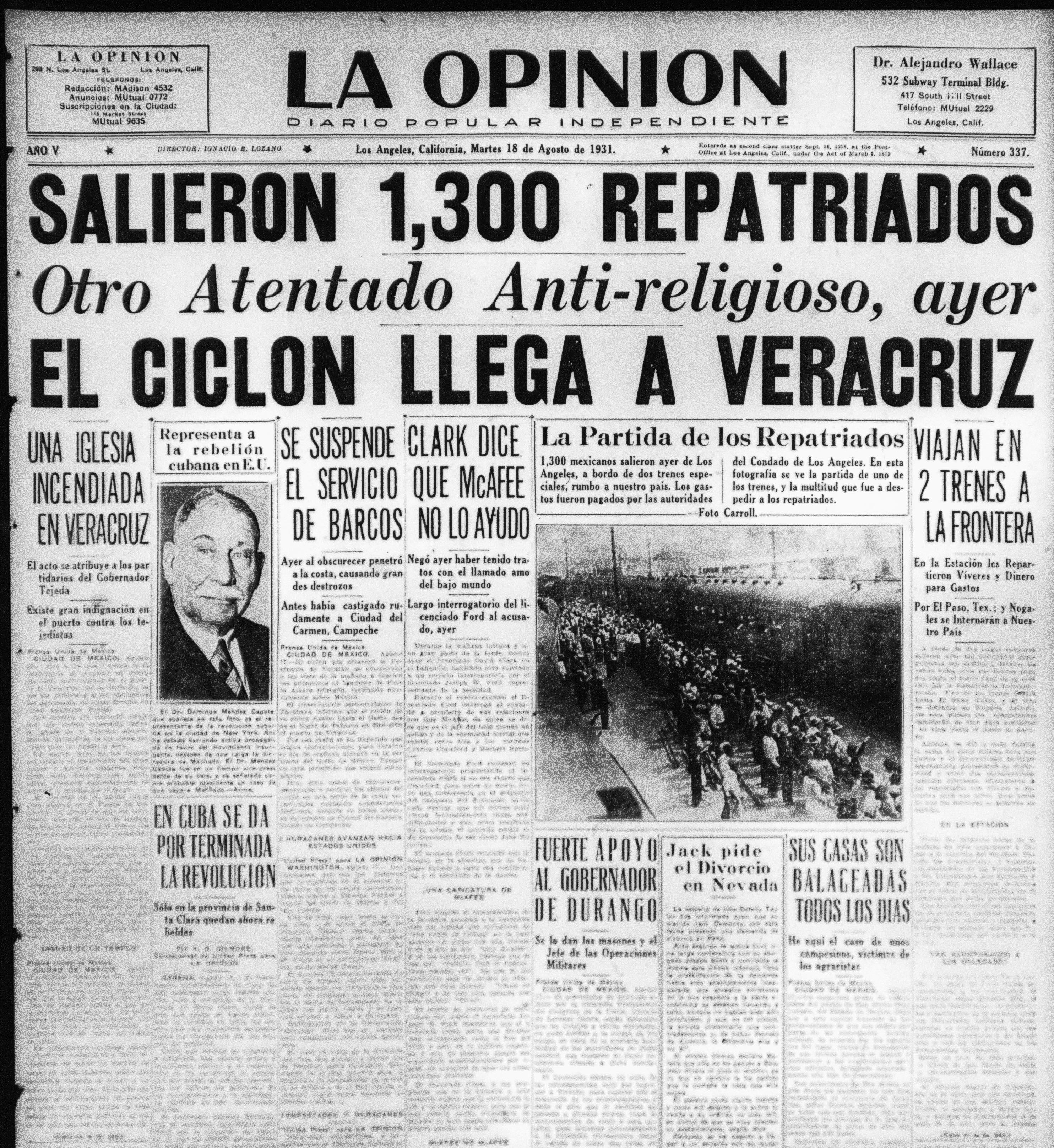 La Opinion Slieron 1,300 Repatriados