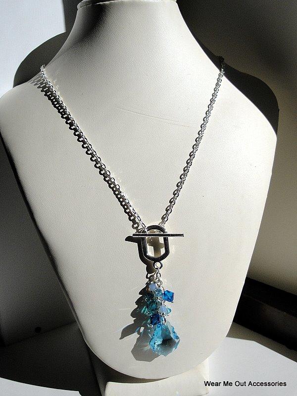Blue Swarovski Cluster Necklace