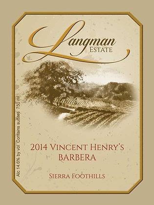 2014 Barbera Vincent Henry's Vineyard