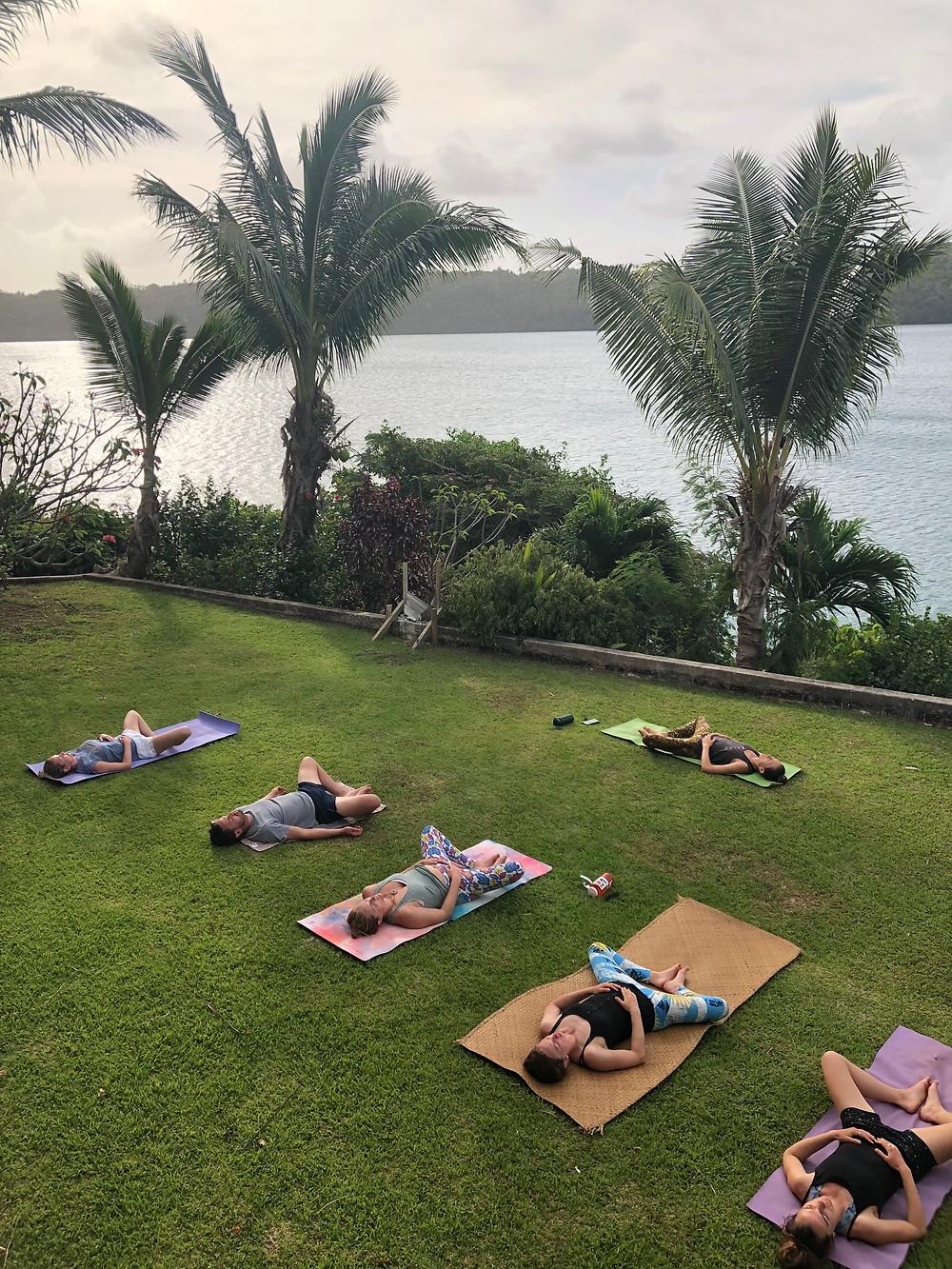 Outdoor Yoga with ocean views.