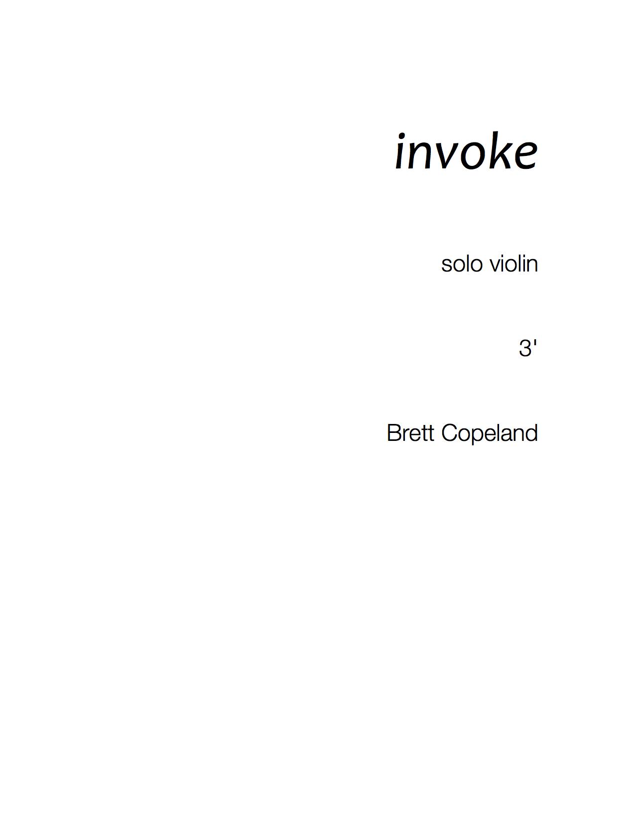 invoke for solo violin