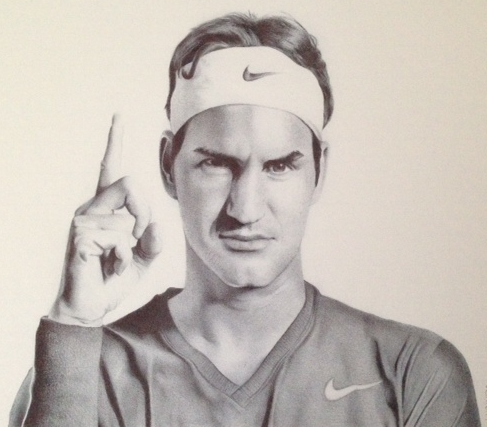 Roger Federer Commission Drawing