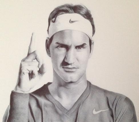 Roger Federer Commission Drawing