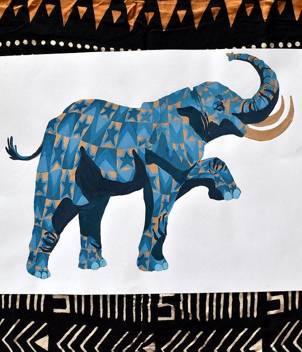 éléphant fier gouache sur kraft illustration