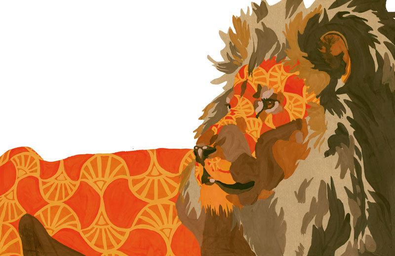 Lion illustration wax gouache
