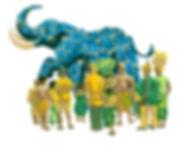 Gouache sur kraft illustration peinture éléphant et foule en Afrique