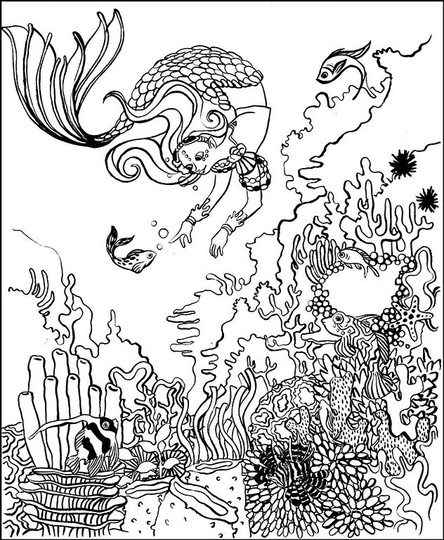 coloriage sirène fonds marins