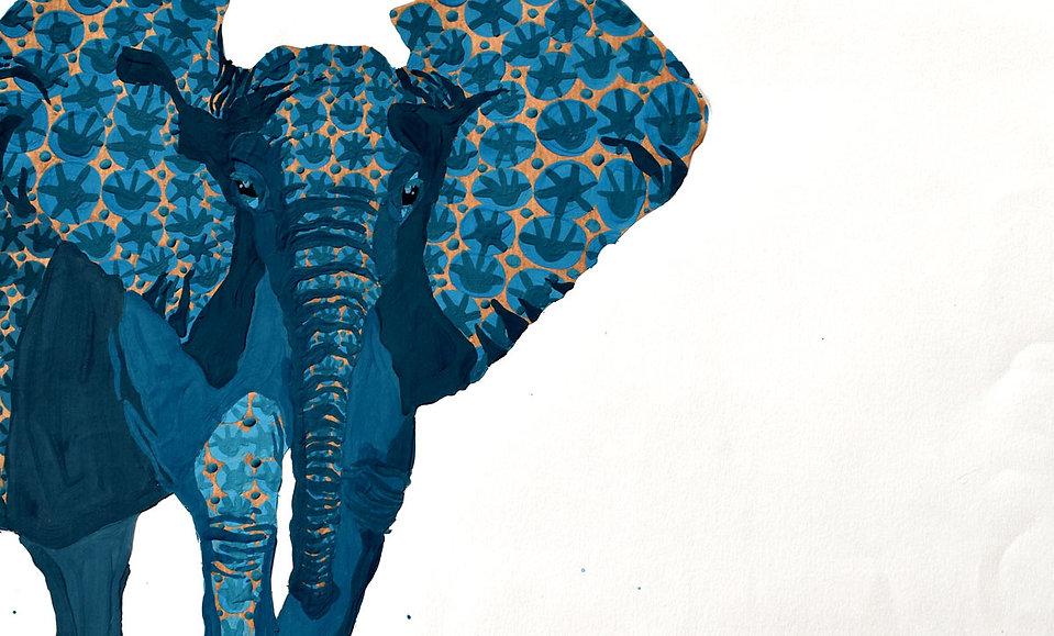 Elephant motif de wax gouache sur kraft illustration