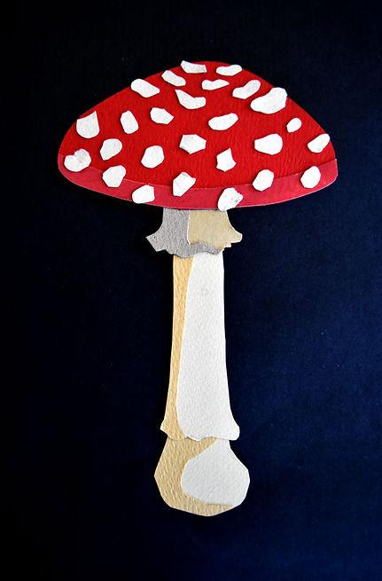 champignon amanite tue-mouches papier découpé
