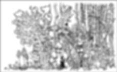 Coloriage d'Une fée en voyage en forêt illustration au pentel