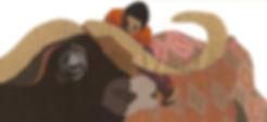 Enfant et buffle africains foire de bologne