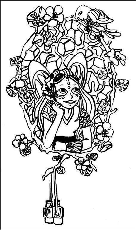 portrait de fée coloriage