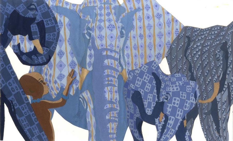 Sékou et les éléphant, illustration gouache sur kraft
