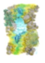 Poissons dans l'eau illustration aux crayons de couleur