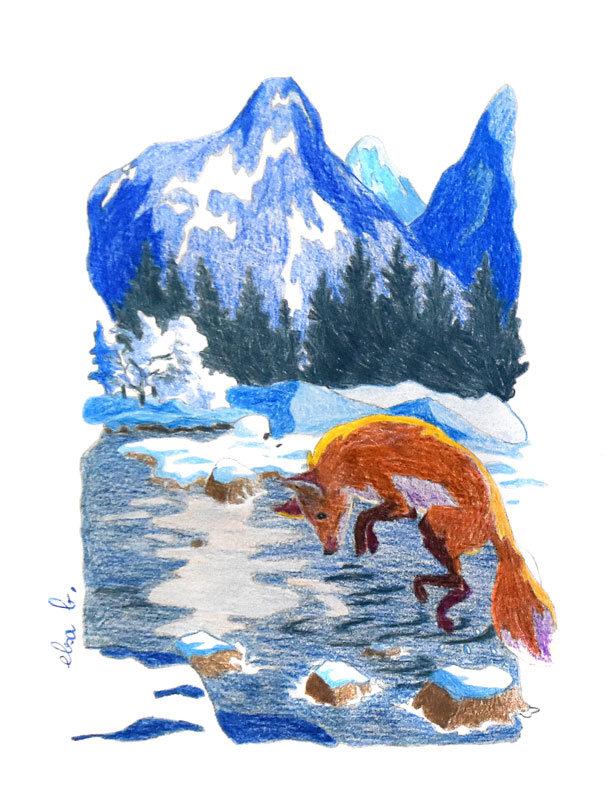 Renard aux crayons de couleur saison hiver