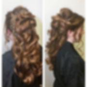 red hair, balayage, prom hair
