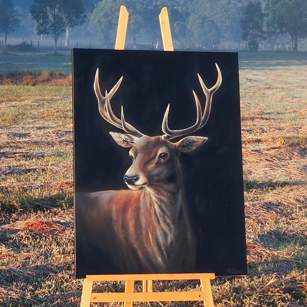 Oil painting, 'Twilight Turn'