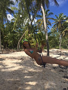 Swinging all her worries away in Punta Cana