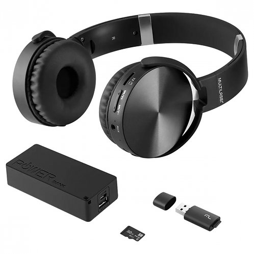 KIT MUSIC PLAY HEADPHONE BLUETOOTH SD/AUX/FM + POWER BANK 4000 MAH + LEITOR USB